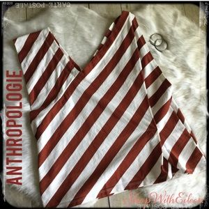 Anthropologie Stamp Cream Burnt Red Striped Top